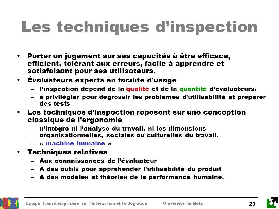 Équipe Transdisciplinaire sur lInteraction et la Cognition Université de Metz 29 Les techniques dinspection Porter un jugement sur ses capacités à êtr
