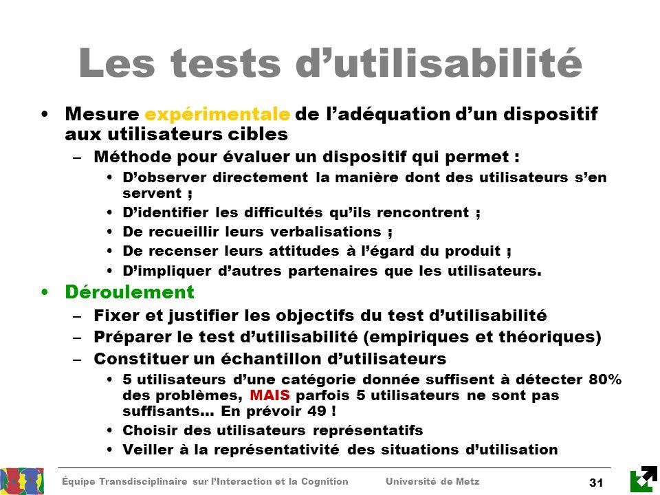 Équipe Transdisciplinaire sur lInteraction et la Cognition Université de Metz 31 Les tests dutilisabilité Mesure expérimentale de ladéquation dun disp