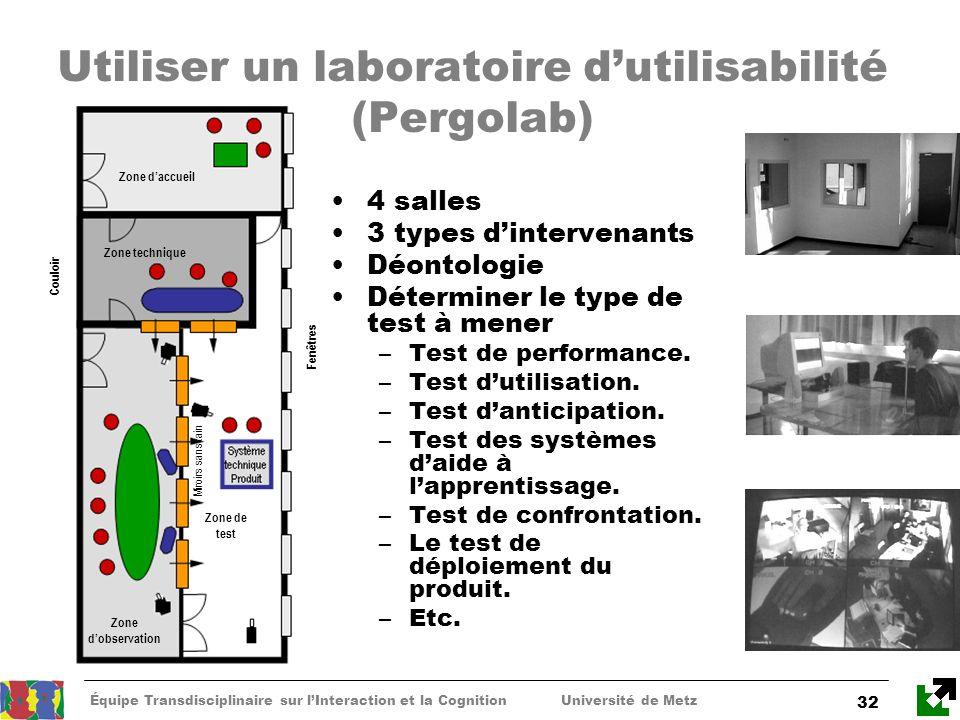 Équipe Transdisciplinaire sur lInteraction et la Cognition Université de Metz 32 Utiliser un laboratoire dutilisabilité (Pergolab) Zone daccueil Zone