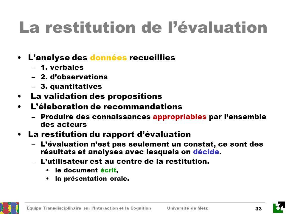Équipe Transdisciplinaire sur lInteraction et la Cognition Université de Metz 33 La restitution de lévaluation Lanalyse des données recueillies –1. ve