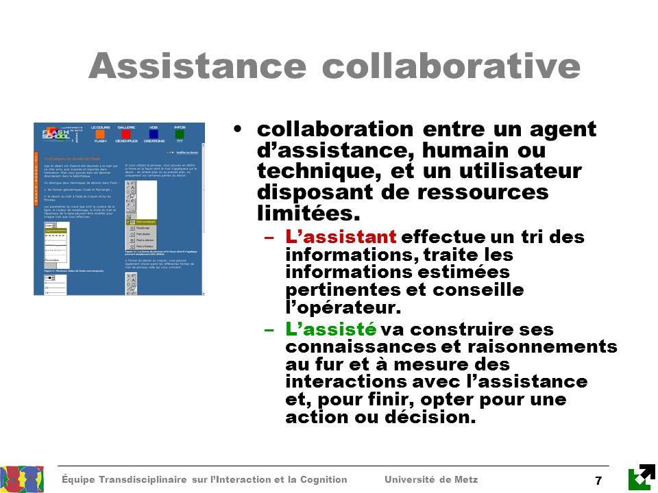 Équipe Transdisciplinaire sur lInteraction et la Cognition Université de Metz 7 Assistance collaborative collaboration entre un agent dassistance, hum