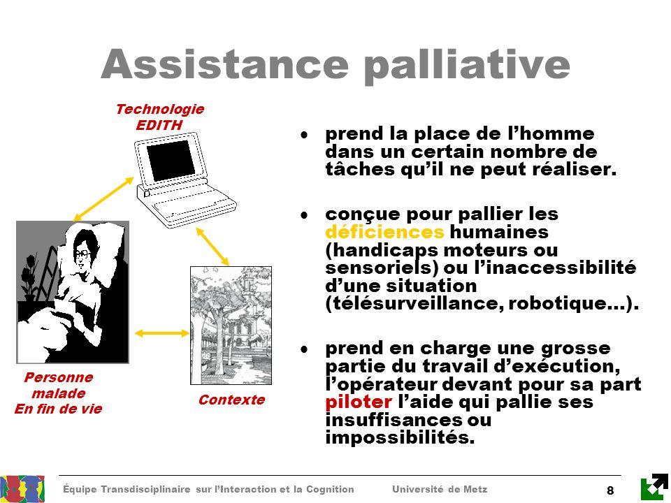 Équipe Transdisciplinaire sur lInteraction et la Cognition Université de Metz 8 Assistance palliative prend la place de lhomme dans un certain nombre