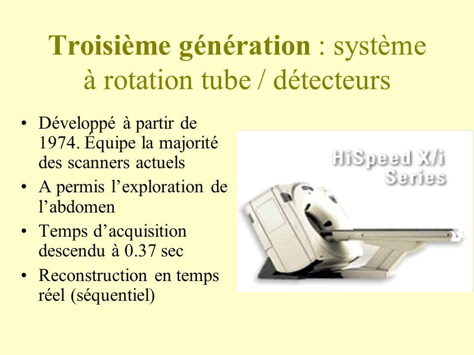 Troisième génération : système à rotation tube / détecteurs Développé à partir de 1974.