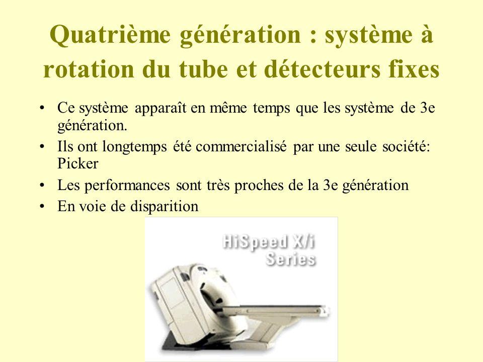 Quatrième génération : système à rotation du tube et détecteurs fixes Ce système apparaît en même temps que les système de 3e génération.