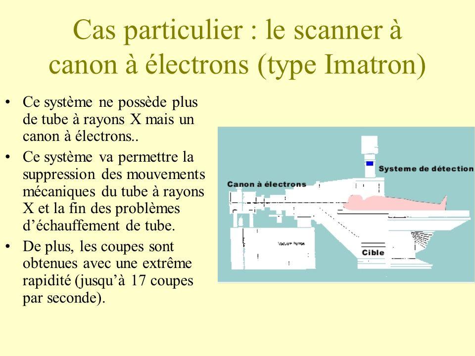 Cas particulier : le scanner à canon à électrons (type Imatron) Ce système ne possède plus de tube à rayons X mais un canon à électrons..