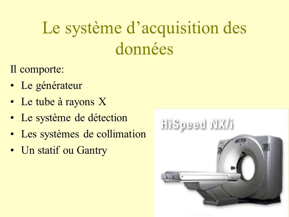 Le système dacquisition des données Il comporte: Le générateur Le tube à rayons X Le système de détection Les systèmes de collimation Un statif ou Gantry