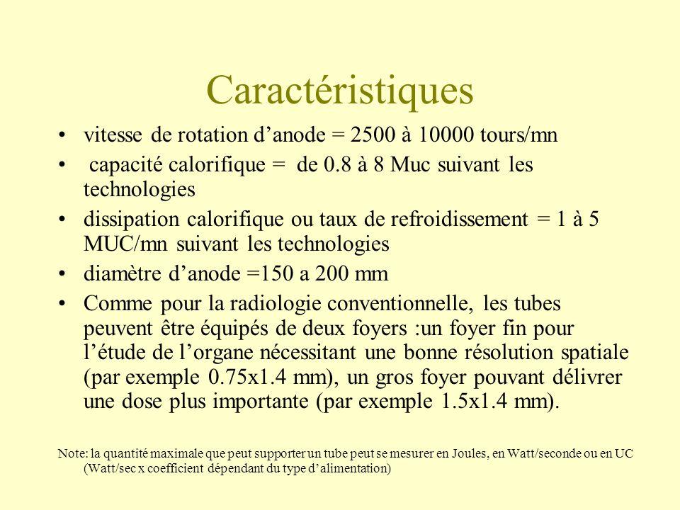 Caractéristiques vitesse de rotation danode = 2500 à 10000 tours/mn capacité calorifique = de 0.8 à 8 Muc suivant les technologies dissipation calorifique ou taux de refroidissement = 1 à 5 MUC/mn suivant les technologies diamètre danode =150 a 200 mm Comme pour la radiologie conventionnelle, les tubes peuvent être équipés de deux foyers :un foyer fin pour létude de lorgane nécessitant une bonne résolution spatiale (par exemple 0.75x1.4 mm), un gros foyer pouvant délivrer une dose plus importante (par exemple 1.5x1.4 mm).