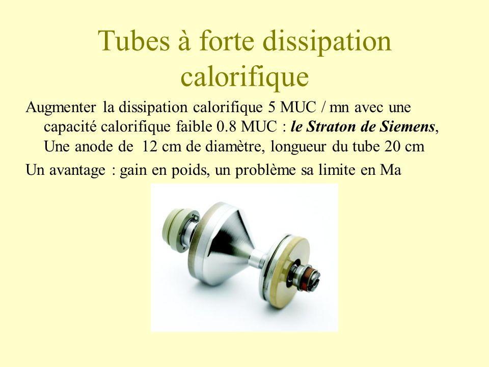 Tubes à forte dissipation calorifique Augmenter la dissipation calorifique 5 MUC / mn avec une capacité calorifique faible 0.8 MUC : le Straton de Siemens, Une anode de 12 cm de diamètre, longueur du tube 20 cm Un avantage : gain en poids, un problème sa limite en Ma