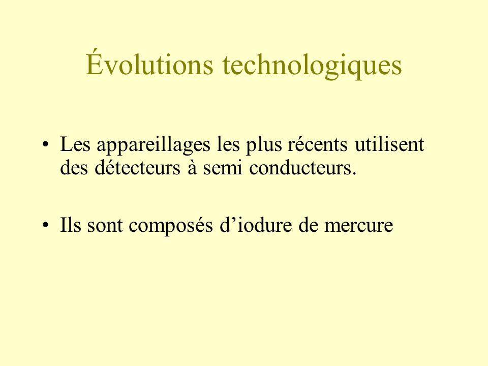 Évolutions technologiques Les appareillages les plus récents utilisent des détecteurs à semi conducteurs.
