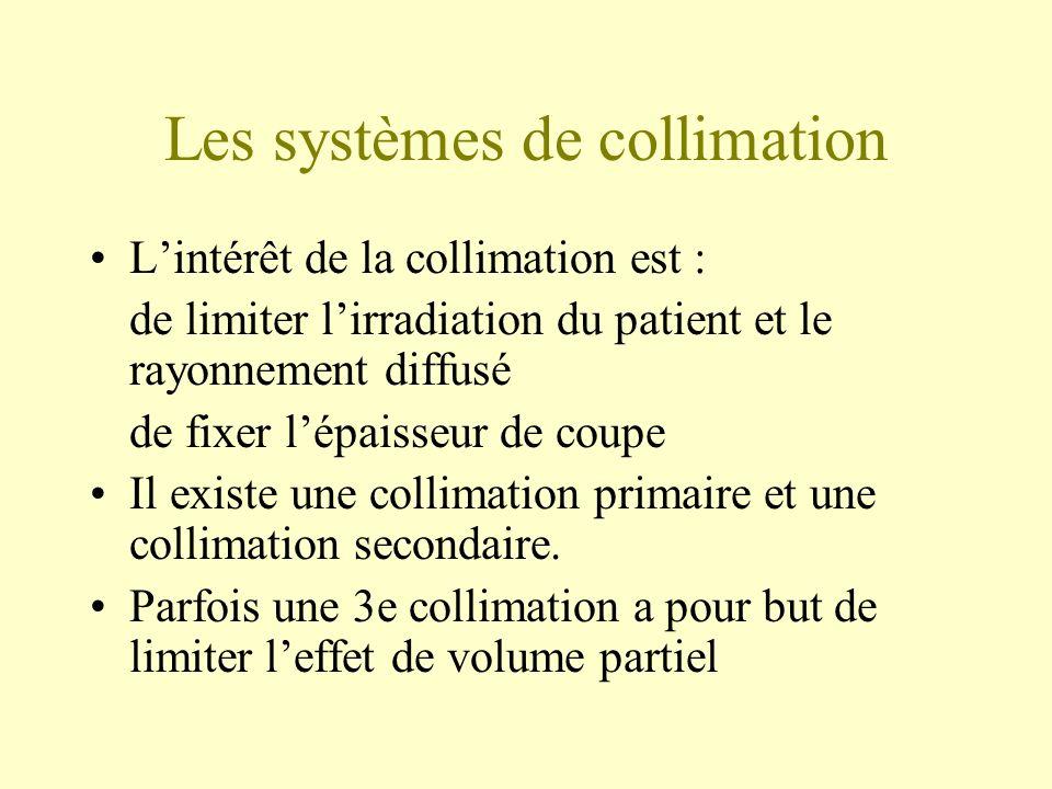 Les systèmes de collimation Lintérêt de la collimation est : de limiter lirradiation du patient et le rayonnement diffusé de fixer lépaisseur de coupe Il existe une collimation primaire et une collimation secondaire.