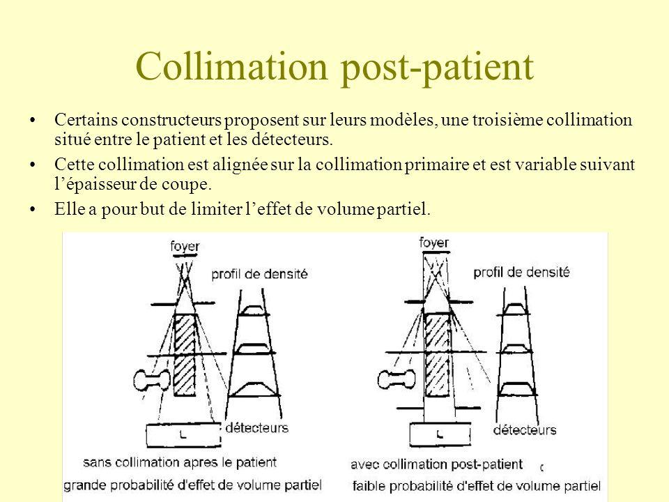 Collimation post-patient Certains constructeurs proposent sur leurs modèles, une troisième collimation situé entre le patient et les détecteurs.
