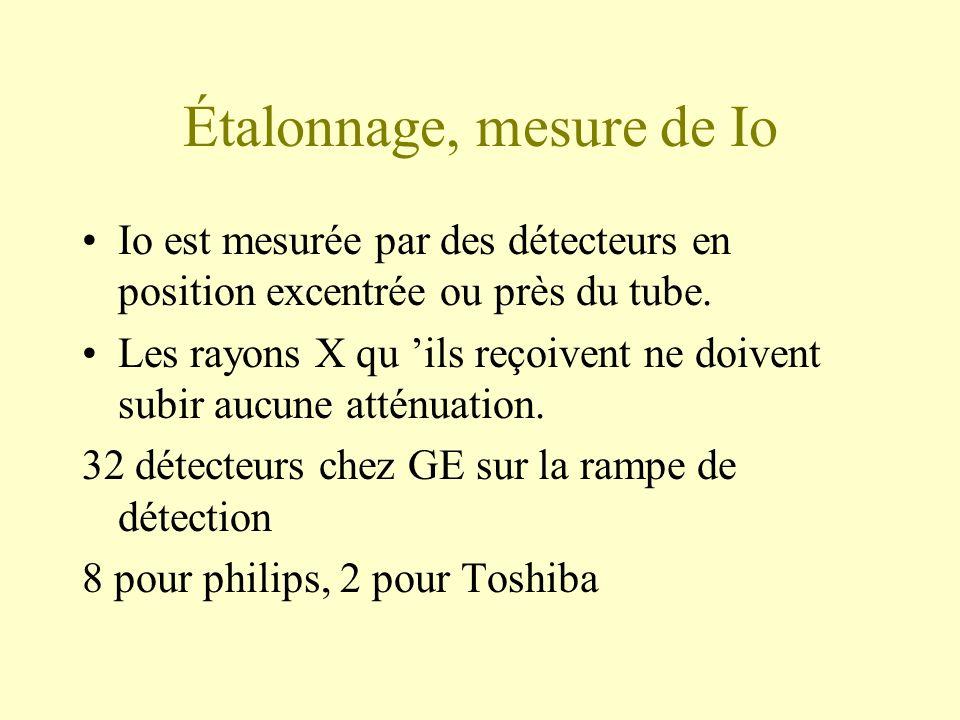 Étalonnage, mesure de Io Io est mesurée par des détecteurs en position excentrée ou près du tube.