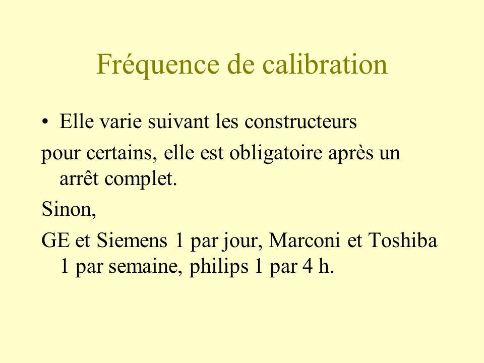Fréquence de calibration Elle varie suivant les constructeurs pour certains, elle est obligatoire après un arrêt complet.