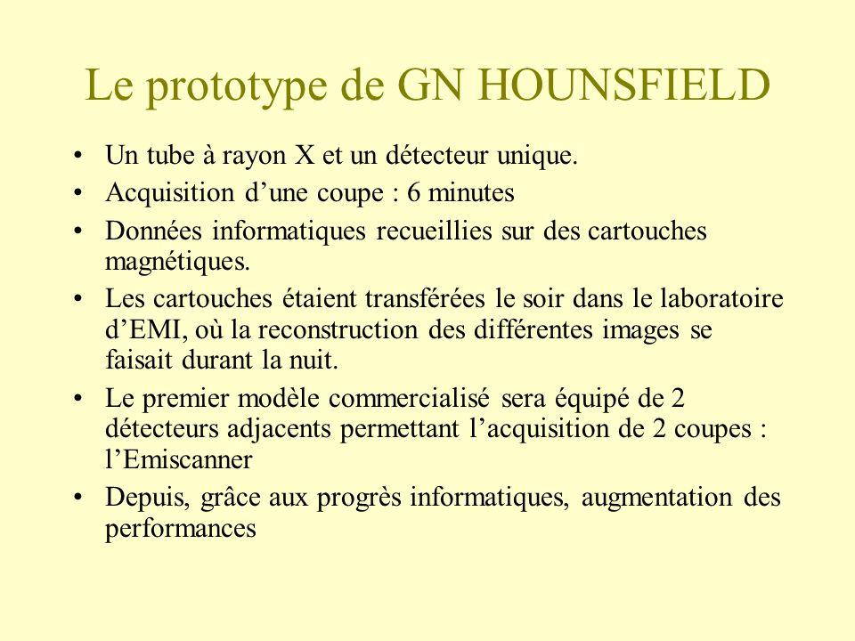 Le prototype de GN HOUNSFIELD Un tube à rayon X et un détecteur unique.