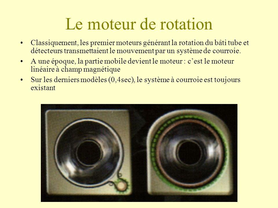 Le moteur de rotation Classiquement, les premier moteurs générant la rotation du bâti tube et détecteurs transmettaient le mouvement par un système de courroie.