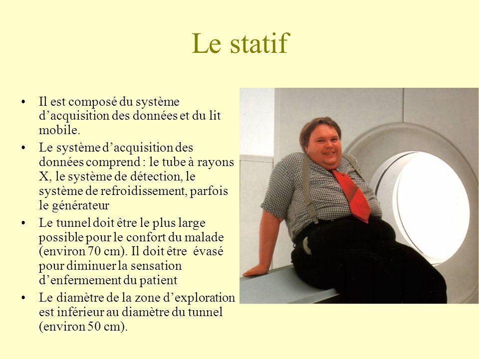 Le statif Il est composé du système dacquisition des données et du lit mobile.