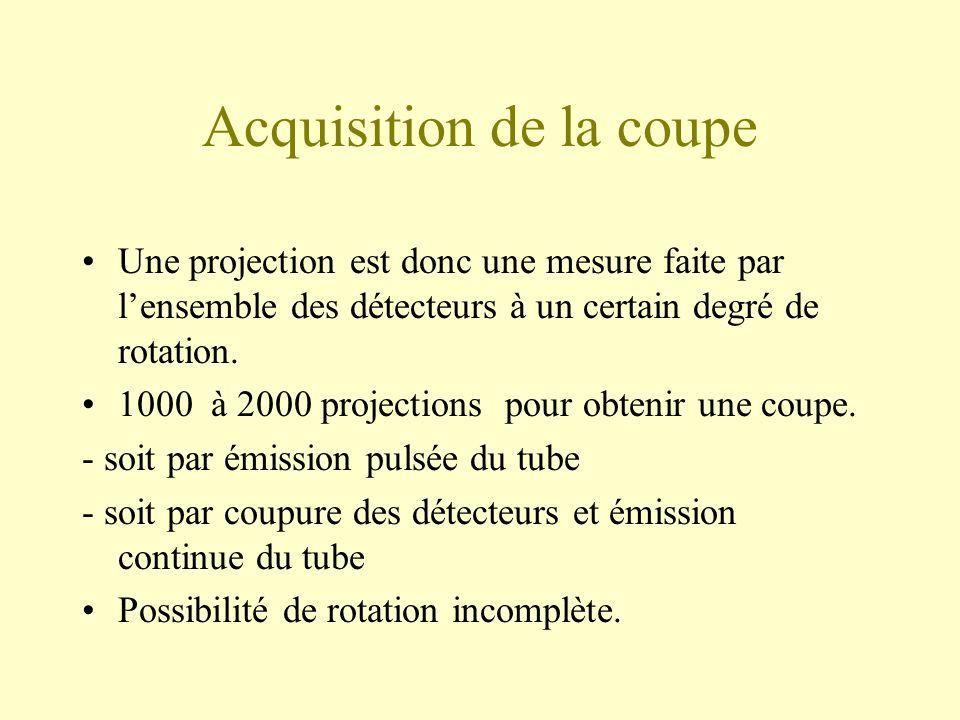 Acquisition de la coupe Une projection est donc une mesure faite par lensemble des détecteurs à un certain degré de rotation.