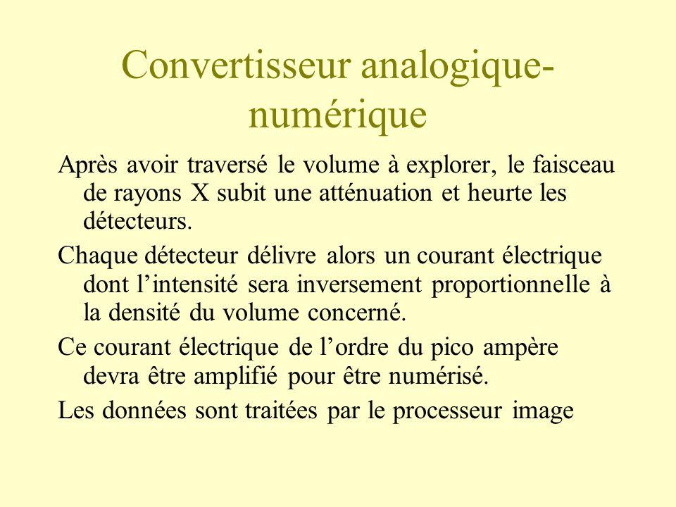 Convertisseur analogique- numérique Après avoir traversé le volume à explorer, le faisceau de rayons X subit une atténuation et heurte les détecteurs.