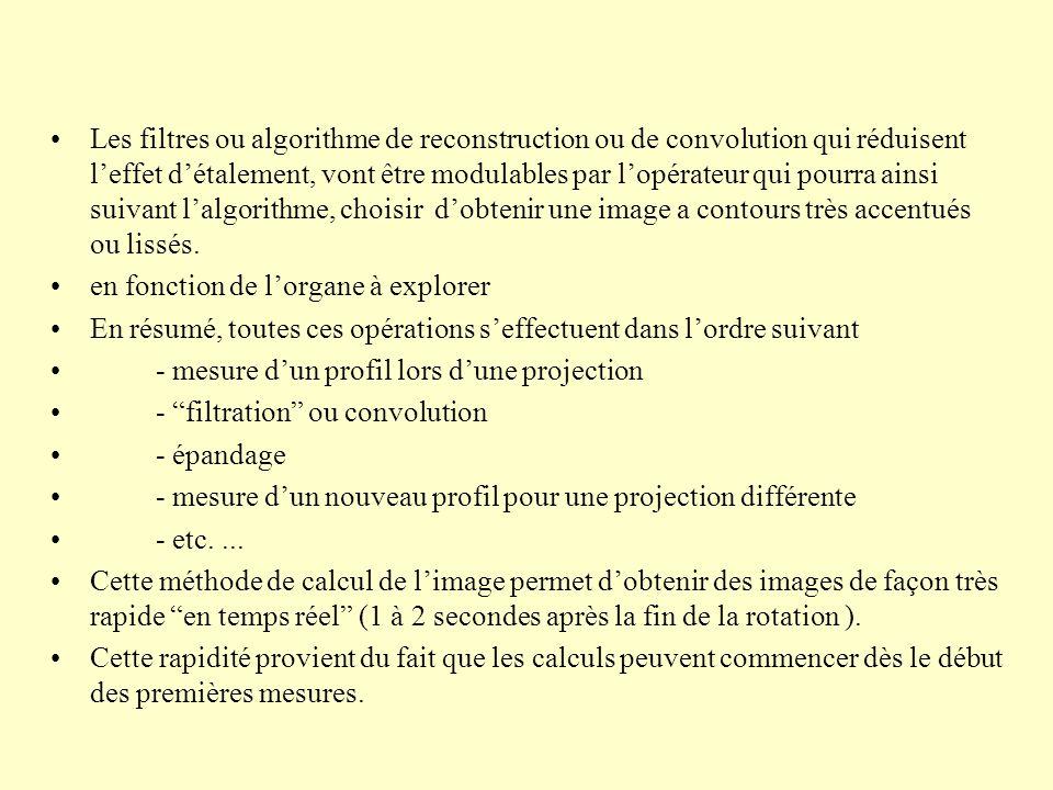 Les filtres ou algorithme de reconstruction ou de convolution qui réduisent leffet détalement, vont être modulables par lopérateur qui pourra ainsi suivant lalgorithme, choisir dobtenir une image a contours très accentués ou lissés.