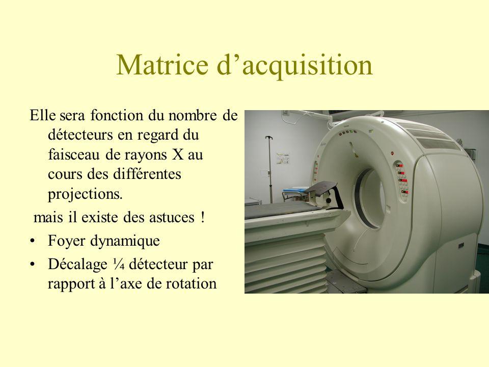 Matrice dacquisition Elle sera fonction du nombre de détecteurs en regard du faisceau de rayons X au cours des différentes projections.