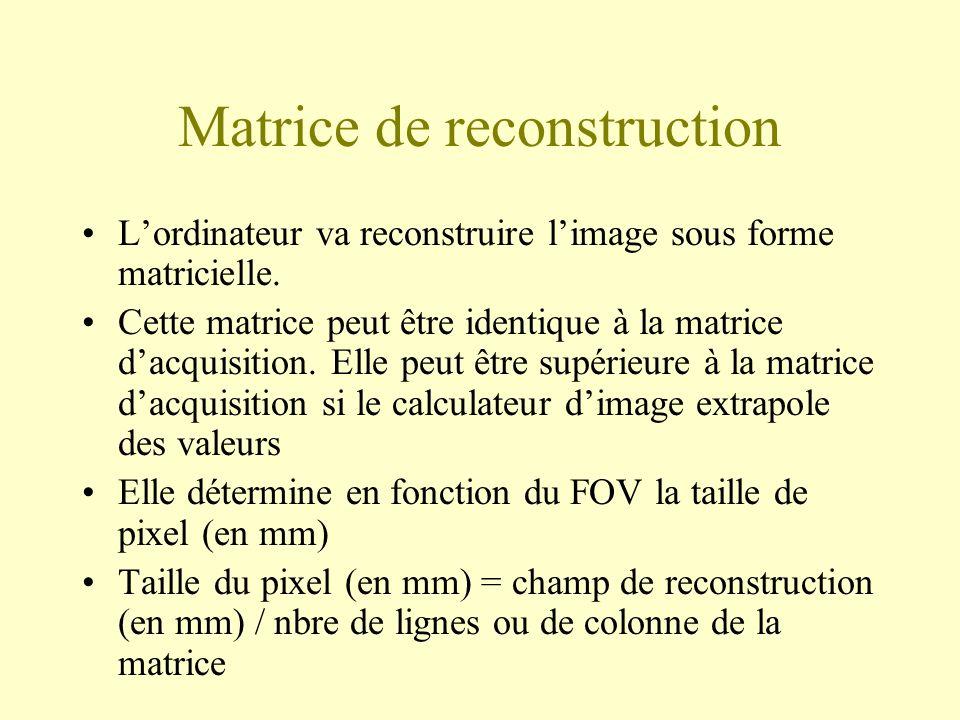 Matrice de reconstruction Lordinateur va reconstruire limage sous forme matricielle.