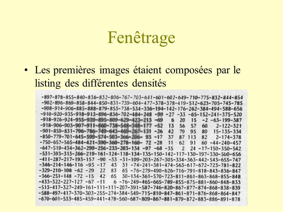 Fenêtrage Les premières images étaient composées par le listing des différentes densités