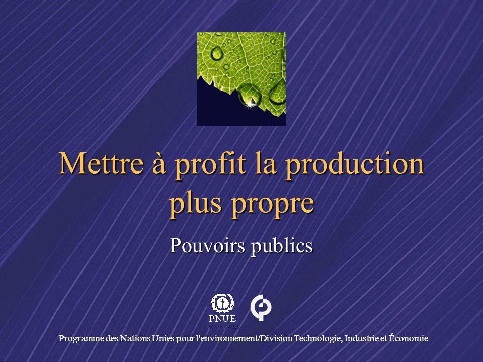 Programme des Nations Unies pour l'environnement/Division Technologie, Industrie et Économie Mettre à profit la production plus propre Pouvoirs public