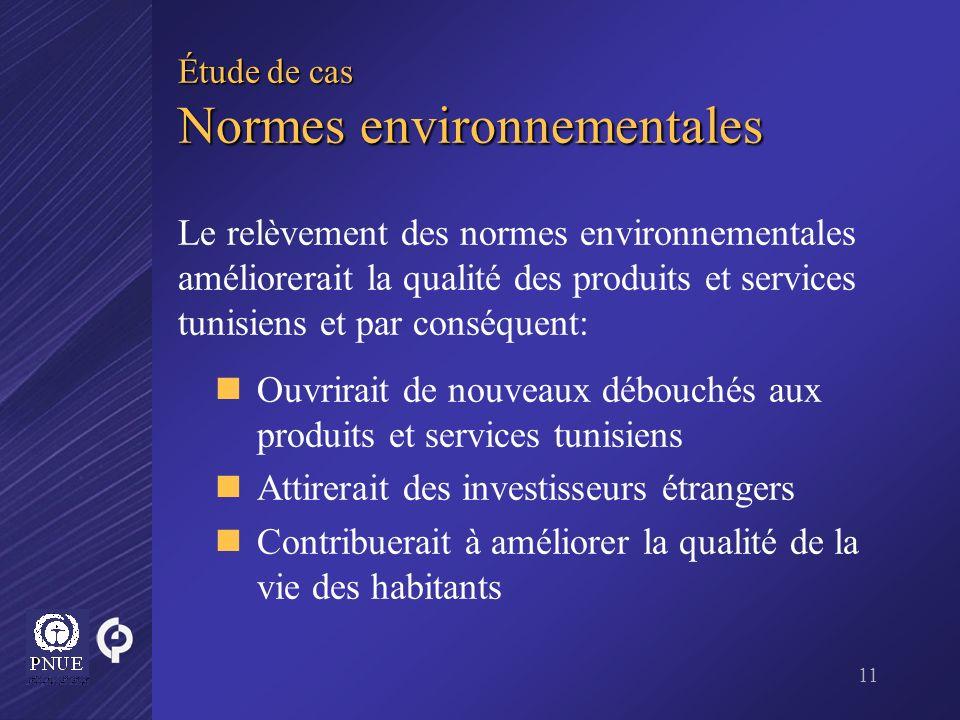 11 Étude de cas Normes environnementales Le relèvement des normes environnementales améliorerait la qualité des produits et services tunisiens et par