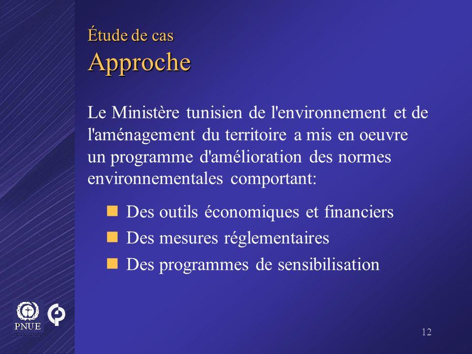 12 Étude de cas Approche Le Ministère tunisien de l'environnement et de l'aménagement du territoire a mis en oeuvre un programme d'amélioration des no