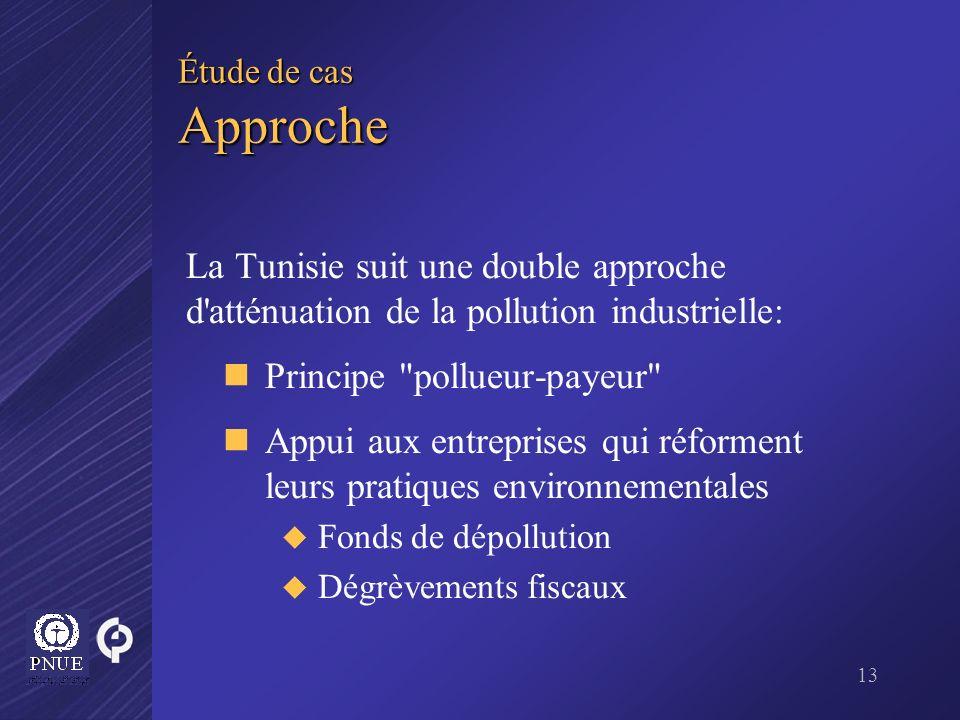 13 Étude de cas Approche La Tunisie suit une double approche d'atténuation de la pollution industrielle: Principe