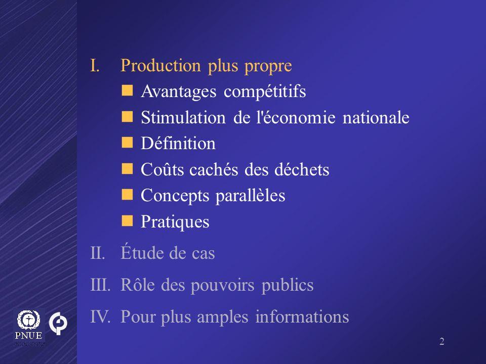2 I.Production plus propre Avantages compétitifs Stimulation de l'économie nationale Définition Coûts cachés des déchets Concepts parallèles Pratiques