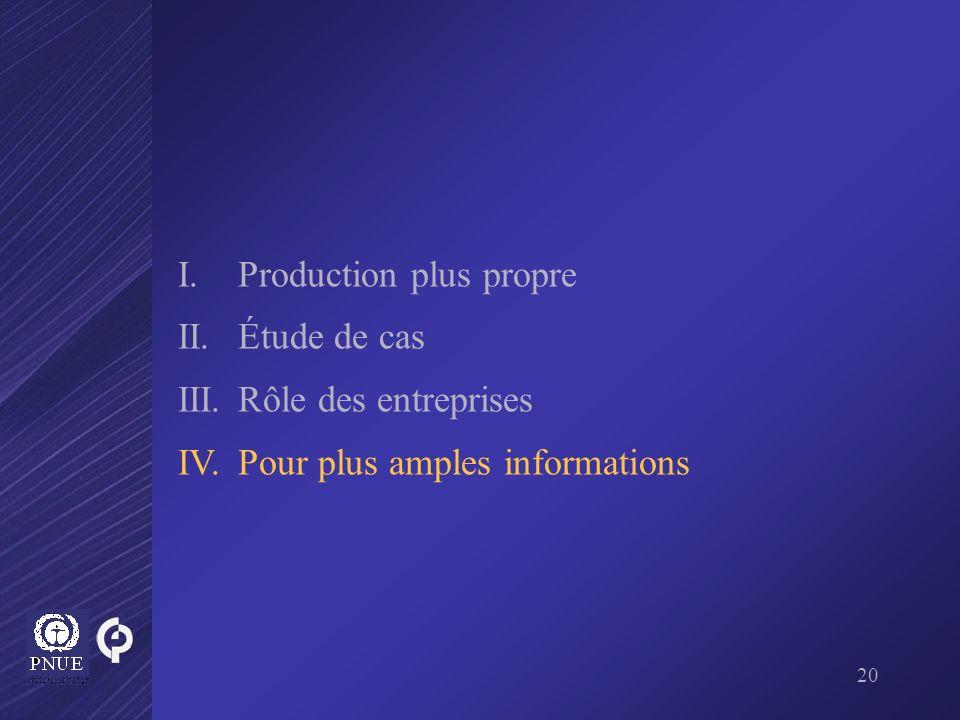 20 I.Production plus propre II. Étude de cas III.Rôle des entreprises IV.Pour plus amples informations
