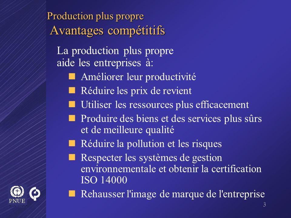 3 Production plus propre Avantages compétitifs La production plus propre aide les entreprises à: Améliorer leur productivité Réduire les prix de revie