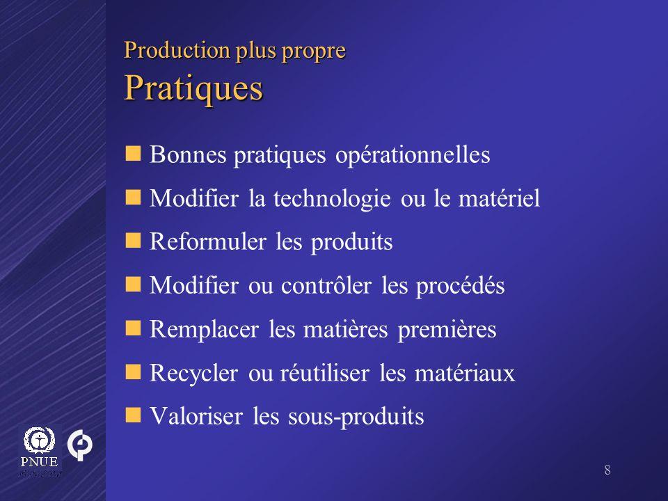 8 Production plus propre Pratiques Bonnes pratiques opérationnelles Modifier la technologie ou le matériel Reformuler les produits Modifier ou contrôl