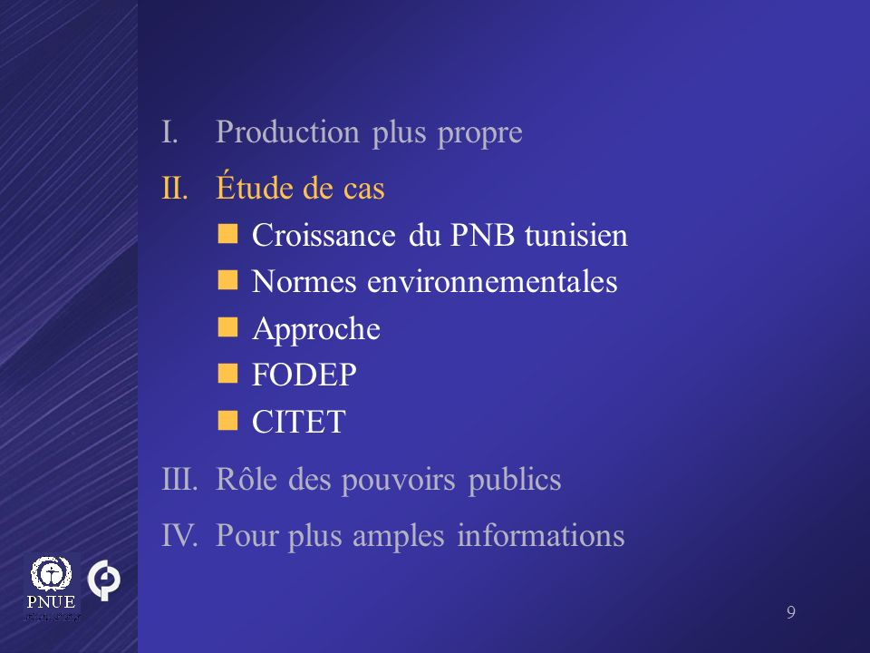 20 I.Production plus propre II.