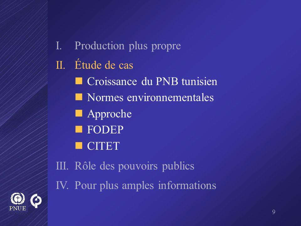 9 I.Production plus propre II. Étude de cas Croissance du PNB tunisien Normes environnementales Approche FODEP CITET III.Rôle des pouvoirs publics IV.