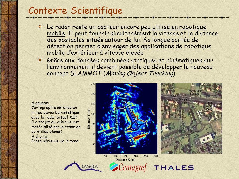 Organisation du projet WP1: Imageur Conception & réalisation du nouveau radar IMPALA - Génération base de données (Cemagref) WP2: SLAM développement du logiciel de localisation et de cartographie simultanées (LASMEA) WP3: RTi Intégration Temps Réel Portage sur plateforme et expérimentations (THALES) WP4: Coordination du projet (Cemagref) Imageur SLAM RTi R-Trooper - THALES RobucarTT – FR TIMS Radar K2Pi - Cemagref