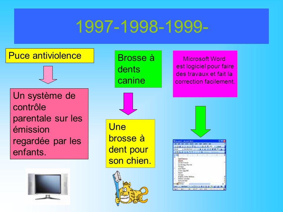 1997-1998-1999- Microsoft Word est logiciel pour faire des travaux et fait la correction facilement. Puce antiviolence Un système de contrôle parental