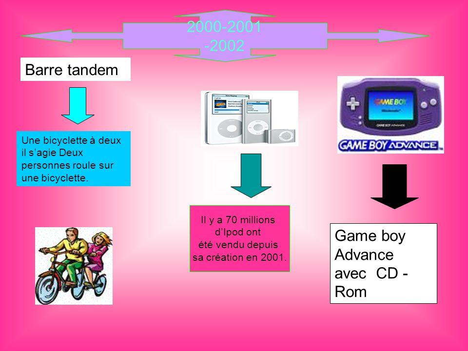 2000-2001 -2002 Il y a 70 millions dIpod ont été vendu depuis sa création en 2001. Game boy Advance avec CD - Rom Barre tandem Une bicyclette à deux i