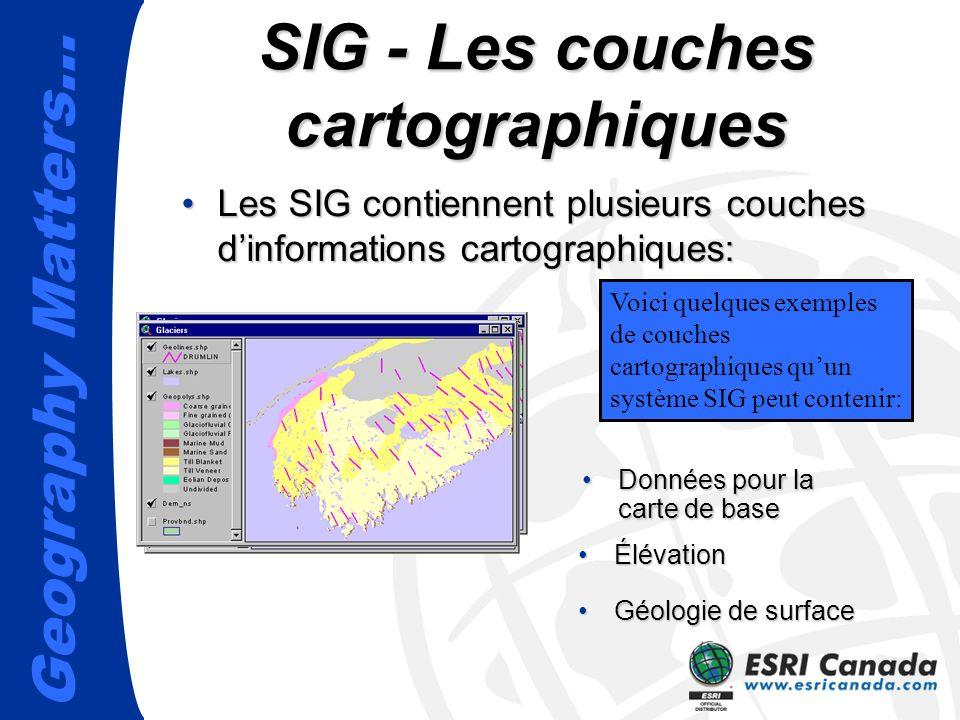 Geography Matters… Données pour la carte de baseDonnées pour la carte de base SIG - Les couches cartographiques Les SIG contiennent plusieurs couches