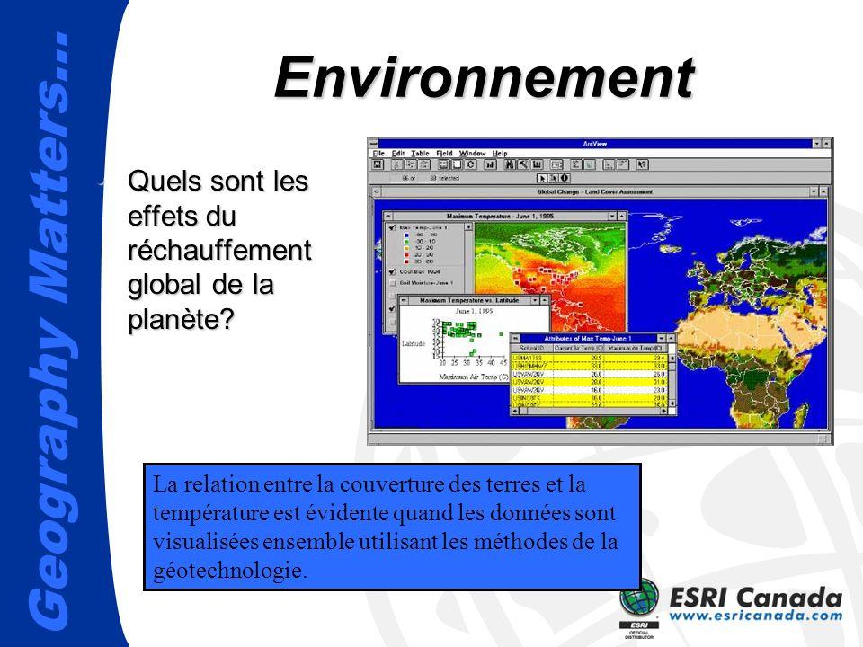 Geography Matters… Environnement Quels sont les effets du réchauffement global de la planète?Quels sont les effets du réchauffement global de la planè