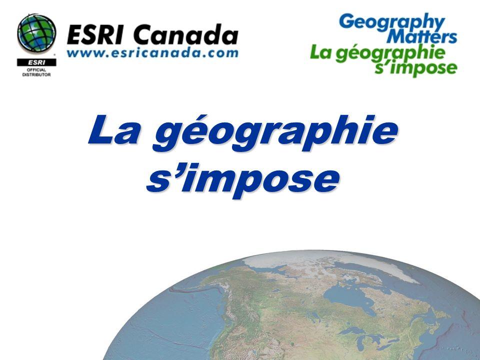 Geography Matters… La géographie et la technologie La géographie nous affectent de plusieurs façons :La géographie nous affectent de plusieurs façons : dans notre environnement natureldans notre environnement naturel dans notre environnement humaindans notre environnement humain La géographie est une discipline de haute technologieLa géographie est une discipline de haute technologie Lobservation de la TerreLobservation de la Terre Le positionnement global (GPS)Le positionnement global (GPS) Les systèmes dinformations géographiques (SIG)Les systèmes dinformations géographiques (SIG)
