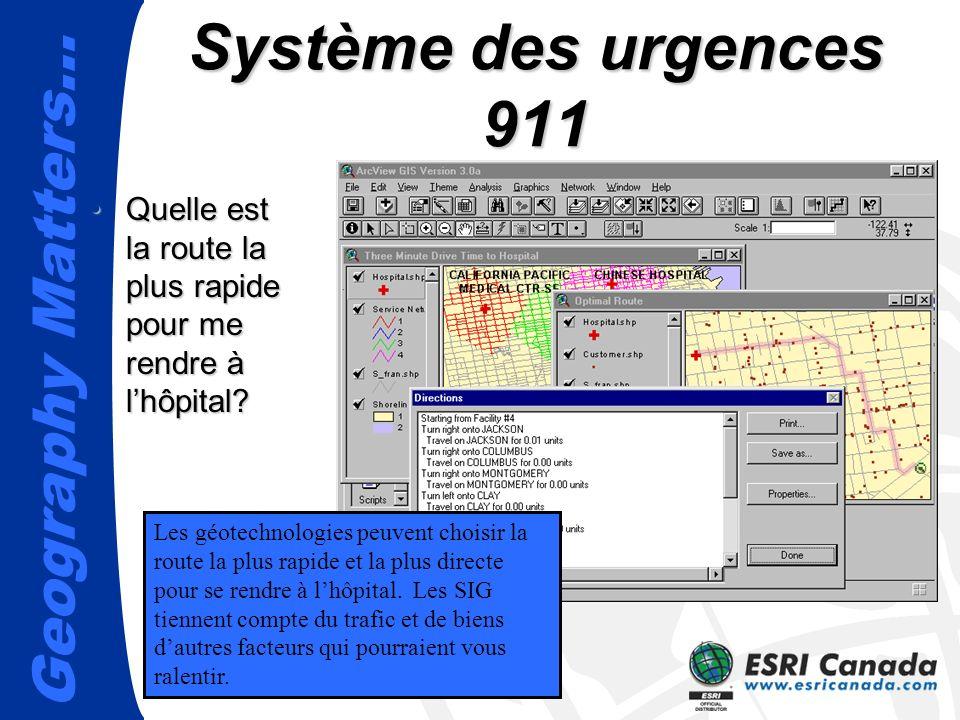 Geography Matters… Système des urgences 911 Quelle est la route la plus rapide pour me rendre à lhôpital?Quelle est la route la plus rapide pour me rendre à lhôpital.