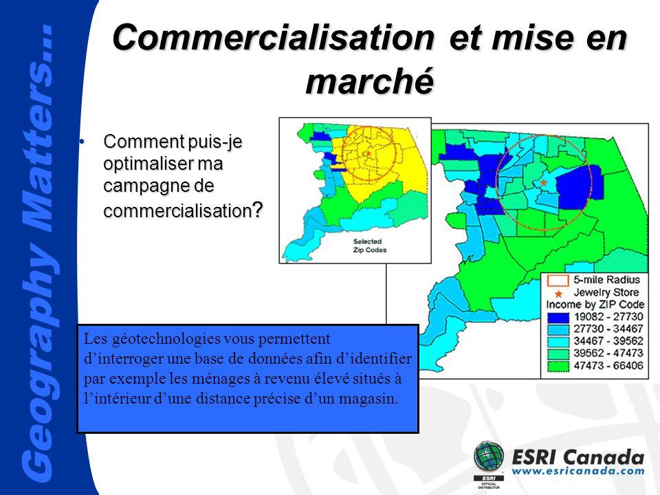 Geography Matters… Commercialisation et mise en marché Les géotechnologies vous permettent dinterroger une base de données afin didentifier par exempl