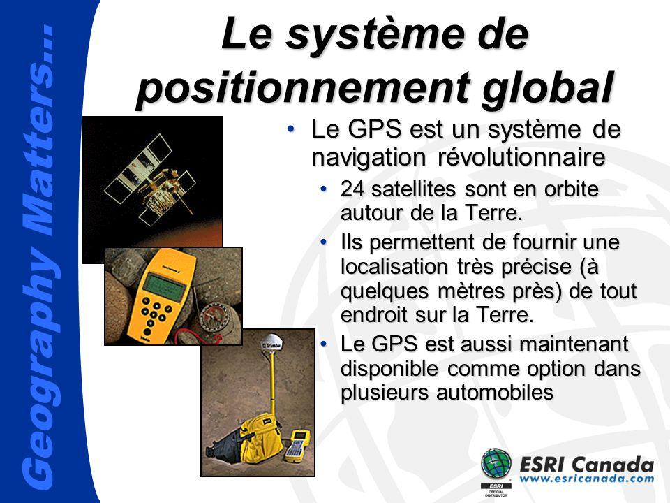 Geography Matters… Le système de positionnement global Le GPS est un système de navigation révolutionnaireLe GPS est un système de navigation révolutionnaire 24 satellites sont en orbite autour de la Terre.24 satellites sont en orbite autour de la Terre.