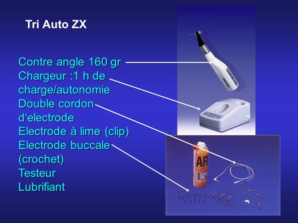 Contre angle 160 gr Chargeur :1 h de charge/autonomie Double cordon delectrode Electrode à lime (clip) Electrode buccale (crochet) TesteurLubrifiant Tri Auto ZX