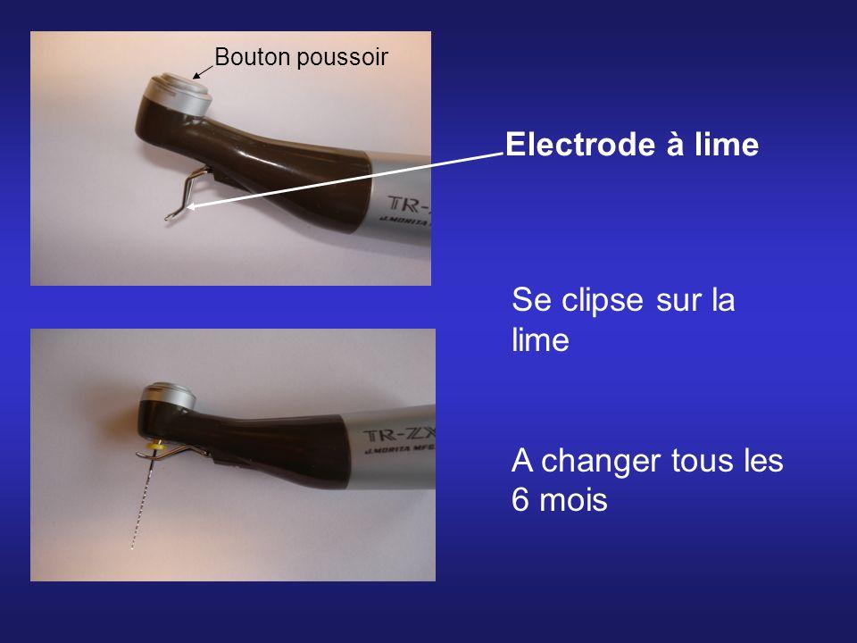Electrode à lime Se clipse sur la lime A changer tous les 6 mois Bouton poussoir