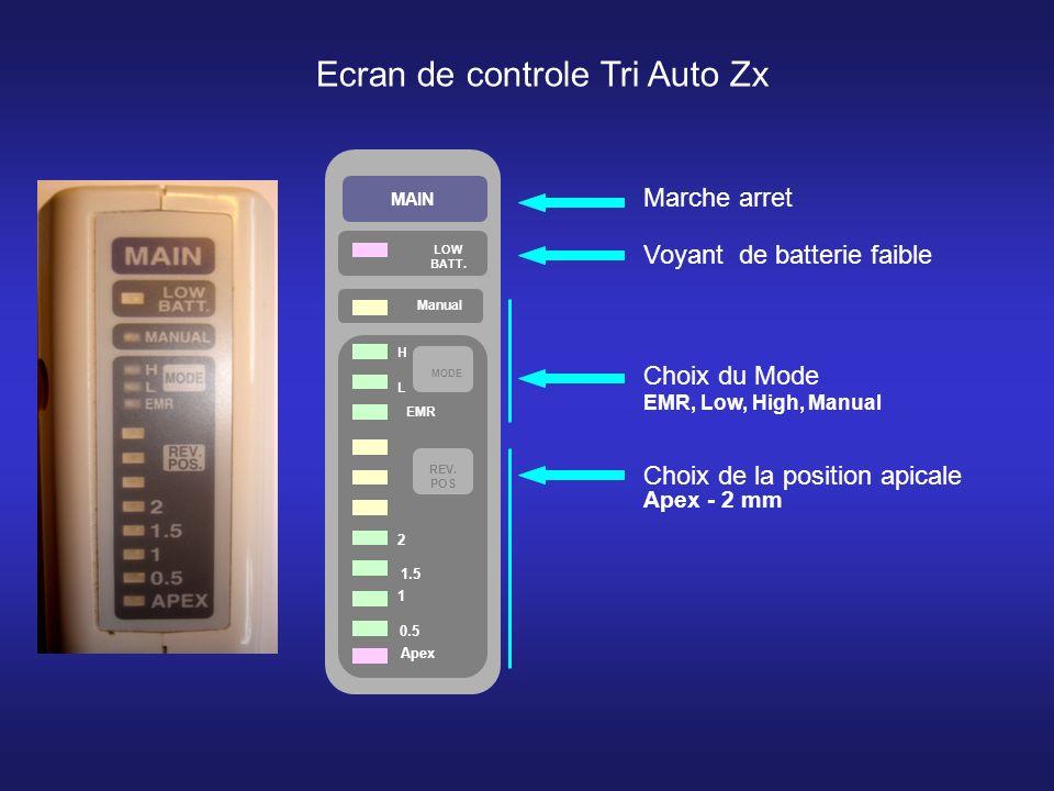 MAIN LOW BATT. Manual Apex 0.5 1 1.5 2 REV. POS MODE H L EMR Ecran de controle Tri Auto Zx Marche arret Voyant de batterie faible Choix du Mode EMR, L