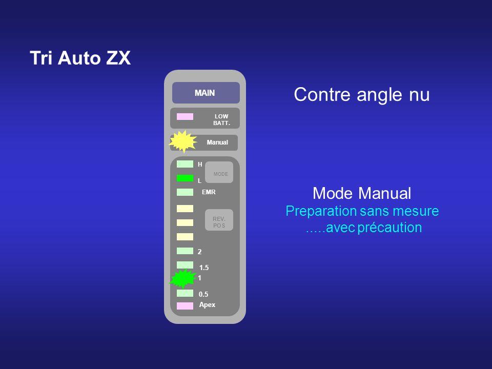 Tri Auto ZX MAIN LOW BATT. Manual Apex 0.5 1 1.5 2 REV. POS MODE H L EMR Mode Manual Preparation sans mesure.....avec précaution Contre angle nu
