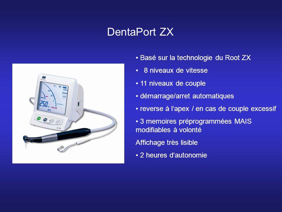 Basé sur la technologie du Root ZX 8 niveaux de vitesse 11 niveaux de couple démarrage/arret automatiques reverse à lapex / en cas de couple excessif 3 memoires préprogrammées MAIS modifiables à volonté Affichage très lisible 2 heures dautonomie DentaPort ZX